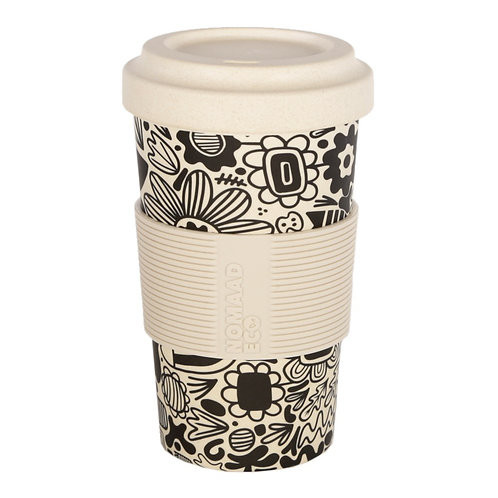 Tasse & Couvercle Fibre Bambou Fleurs Graphique - NOMAAD ECO