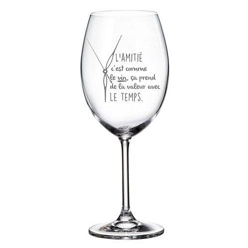 Verre à vin avec Gravure L'amitié