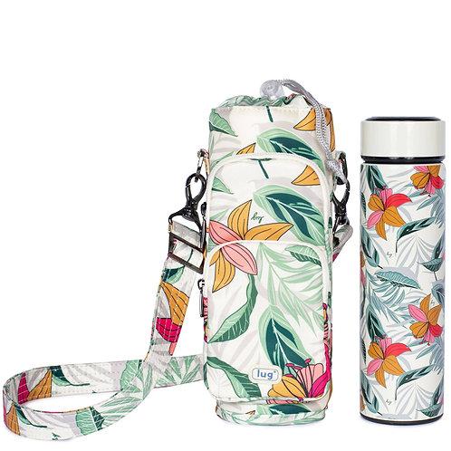 Bouteille d'eau isolée + sac de bouteille isolé Lug fleuri