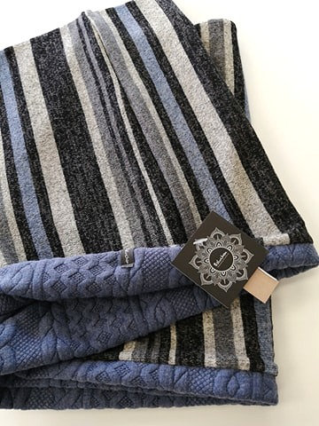 Foulard tube baluchon rayures gris-bleu