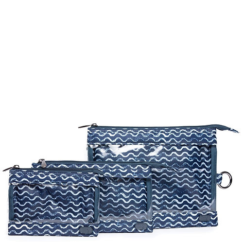 Ensemble de 3 pochettes de transport Lug - Waves navy