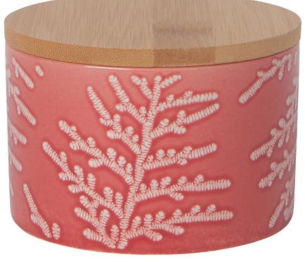 Petite boite en porcelaine feuillage rouge