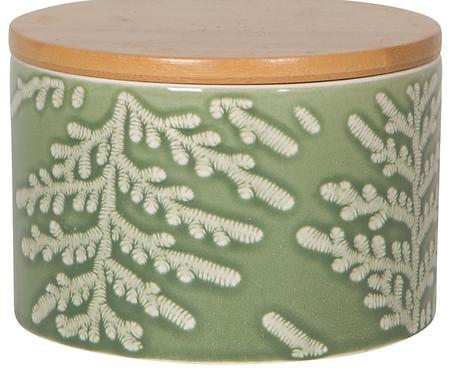 Petite boite en porcelaine feuillage vert