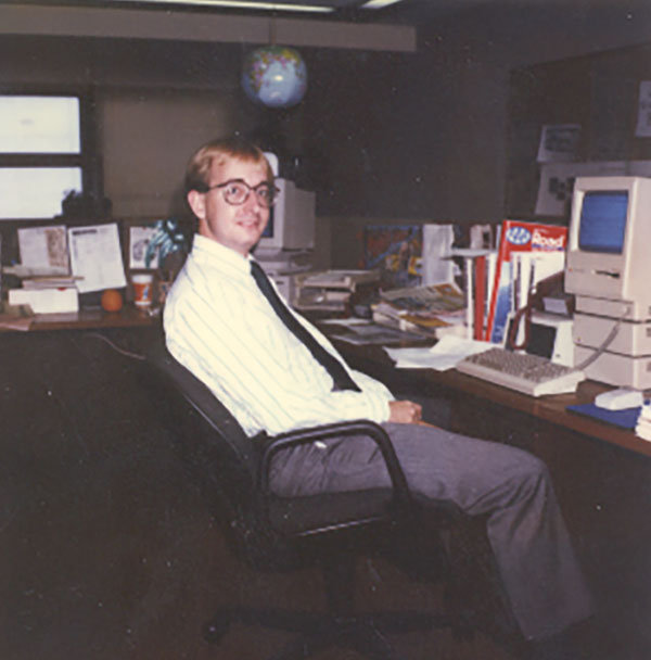 Robbie Adams at KRGN in 1987 with a Mac Plus