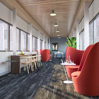 One-of-a-kind skybridge lounge