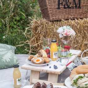 Bettys Kitchen Picnics featuring our 4 glass Wine table