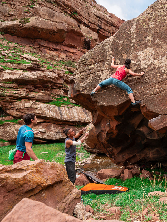 Inbal Katznelson bouldering in Oukmaiden, Morocco