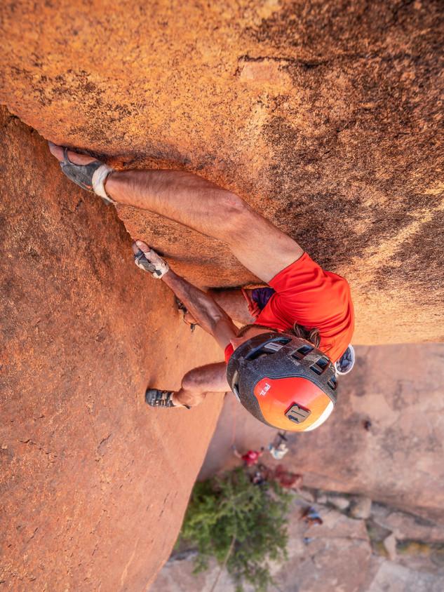 Sean Villanueva climbing in Tafraout, Morocco