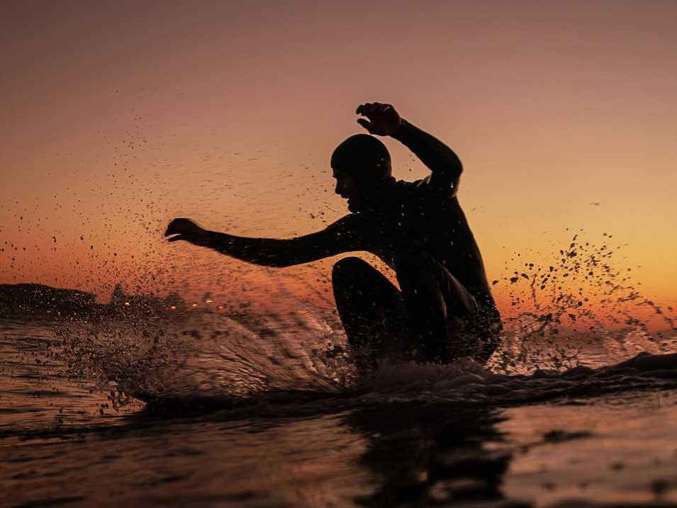 Stephan Kirsten early surfing in Muizemberg, Cape Town, South Africa