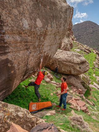 Said Belhaj and Brian Weaver bouldering in Oukmaiden, Morocco