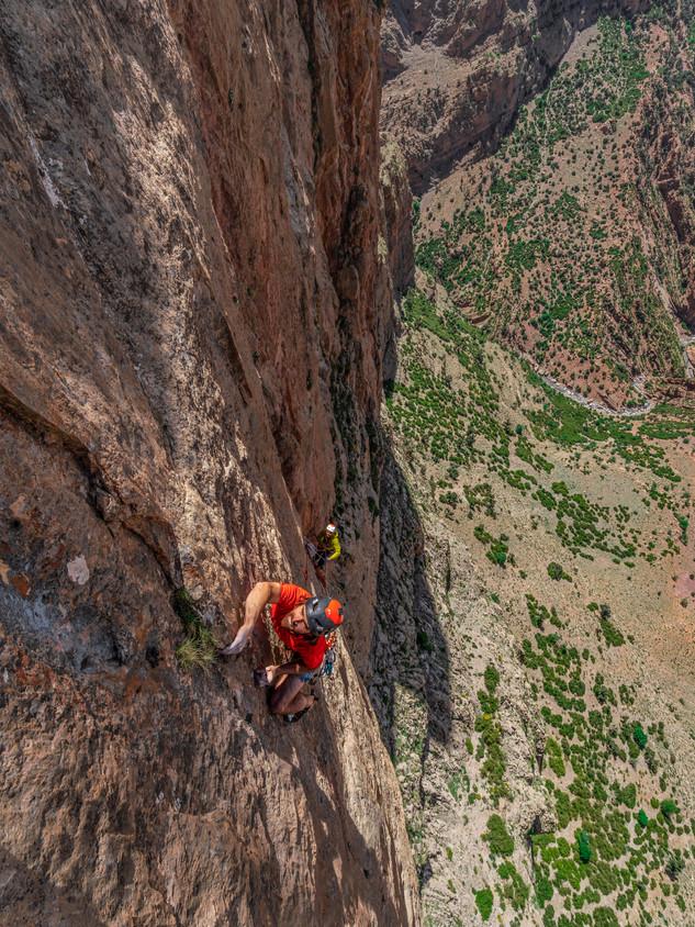 Sean Villanueva climbing in Taghia, Morocco