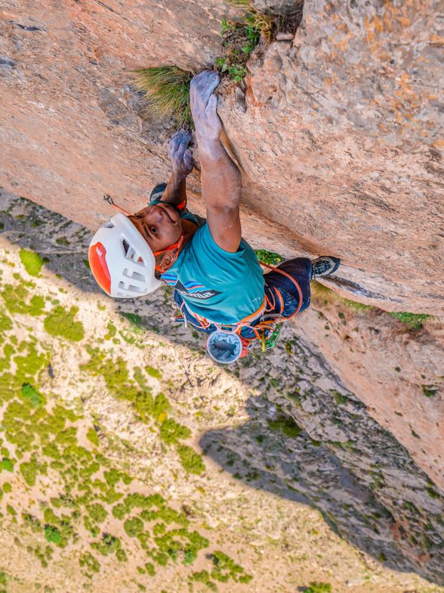 Said Belhaj climbing in Taghia, Morocco