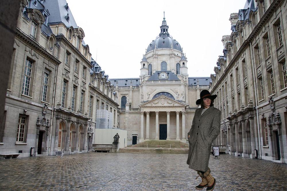 Long Tweed Coat looking smart at the Sorbonne