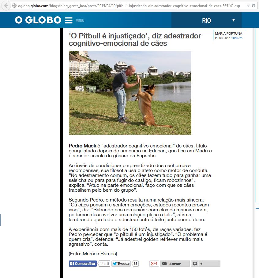Matéria O Globo - Abril de 2015