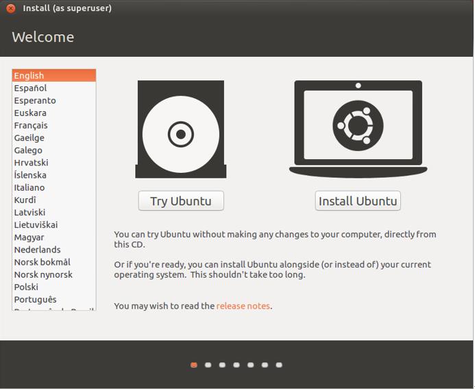 Ubuntu 16.04 LTS 安裝畫面