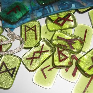 Fused glass rune set
