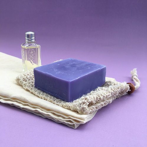 Organic Wild Bluebell soap with exfoliating soap pouch