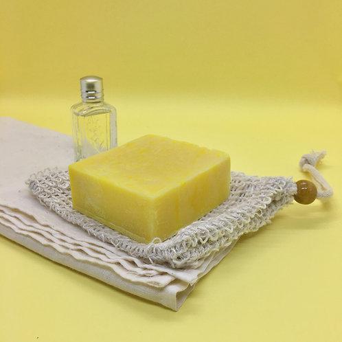 Organic Rich Daffodil soap with exfoliating pouch