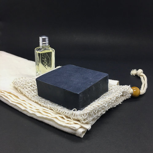 Anthracite Coal soap with exfoliating pouch
