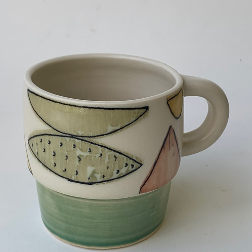 Green Step Mug- Abstract with line drawing