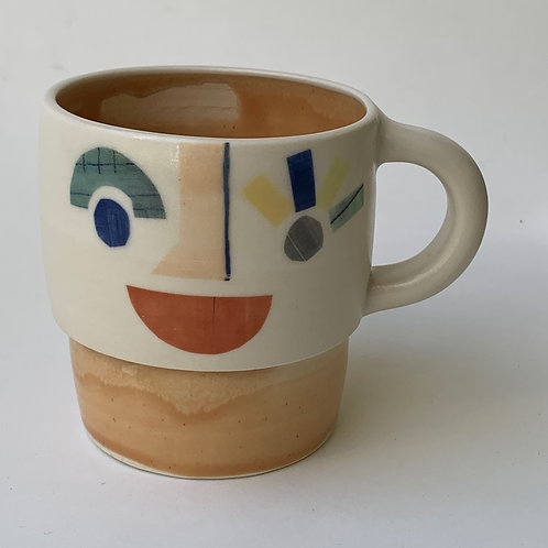 Peach Abstract Face Mug