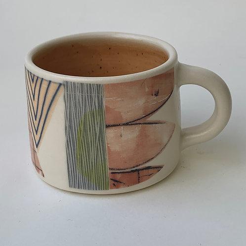 Short Peach Abstract Mug
