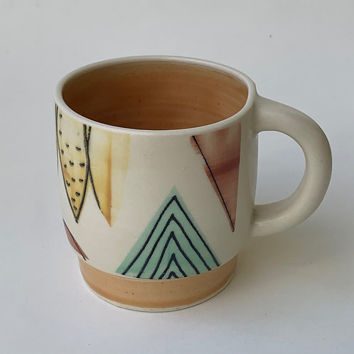 Peach Step Mug- Abstract with Line Drawing