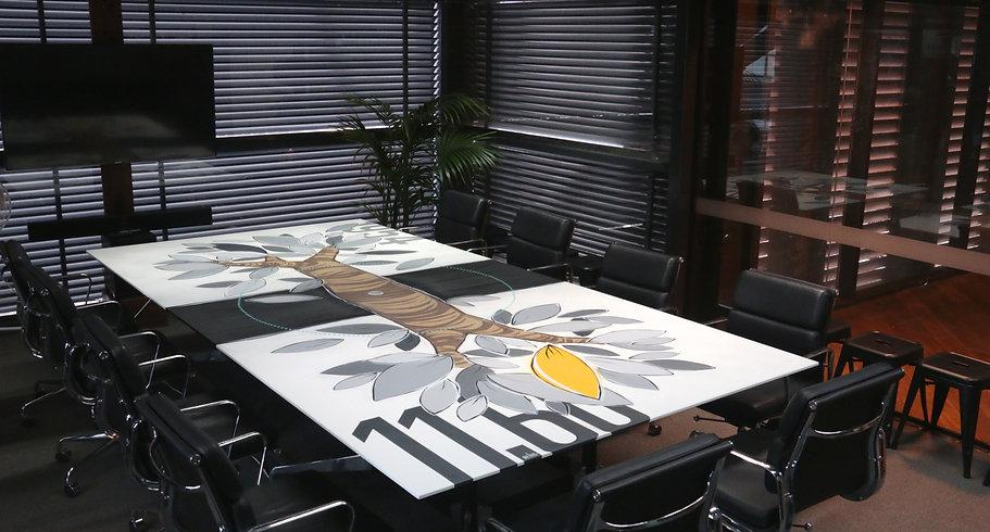 Kayapa Creative Studio. M-Lon. Atomic 212º. Design Agency. Creative Agency. Sydney. Walsh Bay. Art. Murals. Conference Table