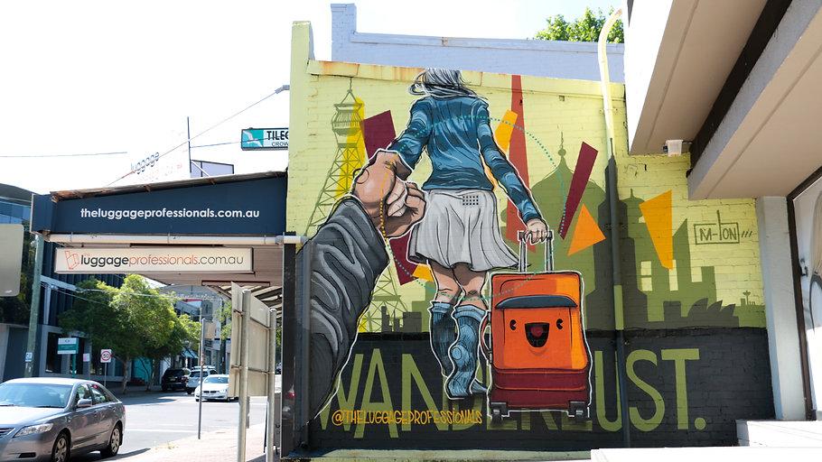 The Luggage Professionals. Mural. M-Lon. Kayapa Creative Studio