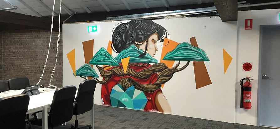 Kayapa. M-Lon. Mural. Coworking. Sydney. Haymarket
