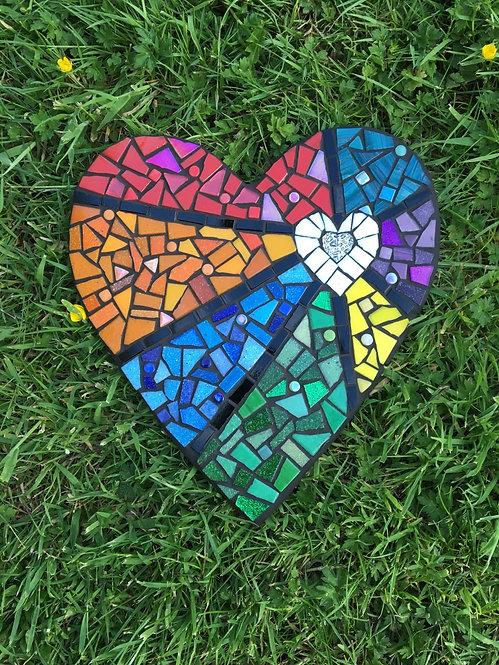 Rainbow Mosaic Heart