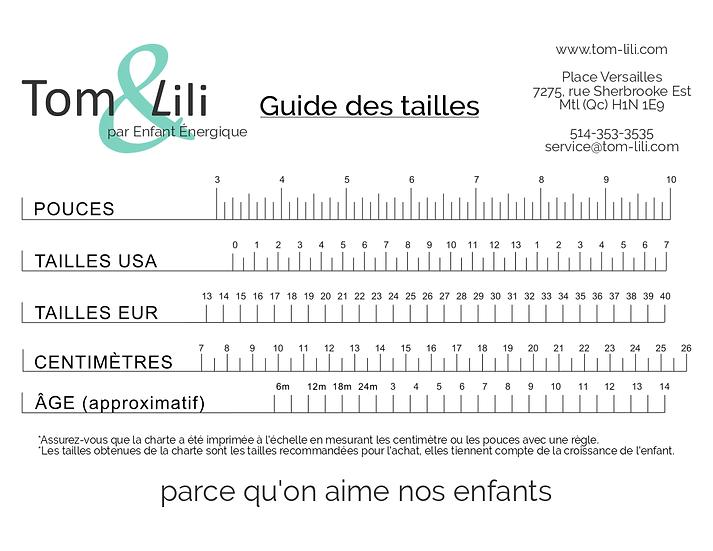 guide des tailles à imprimer