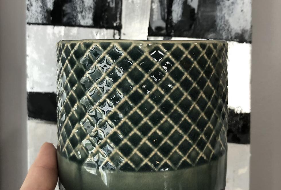 Criss Cross Pattern Pot-Teal