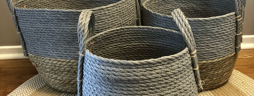Straw Baskets 'Grey'