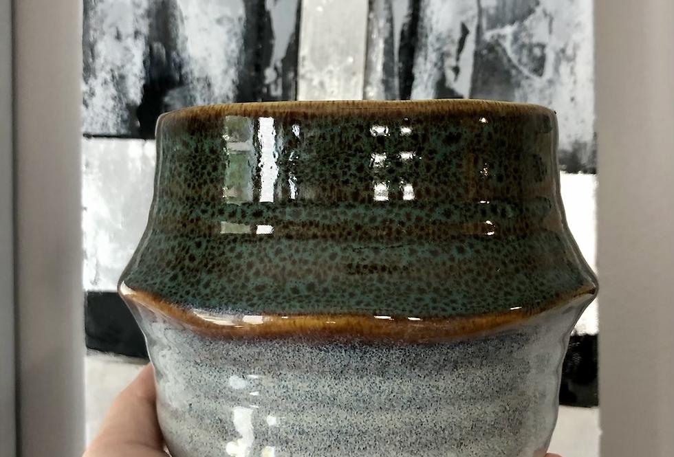 Drip Glazed Stoneware Pot-Blue