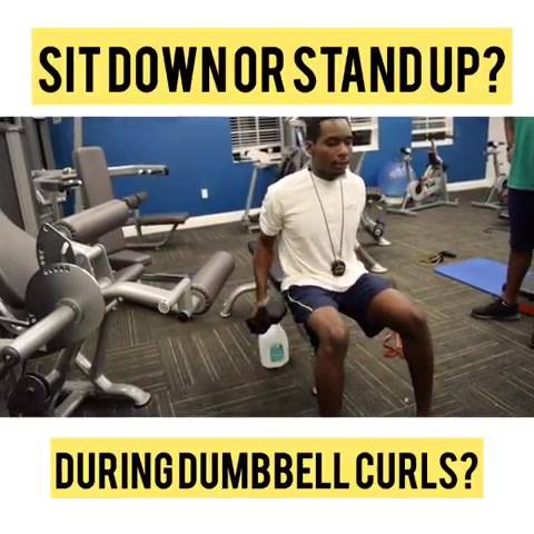Why would you sit down instead of standing up during an exercise (curls, kickback, whatever). You would sit down instead of standing up to decrease the amount of core stabilization you need and focus on the muscle you are trying to build. Vice Vera's