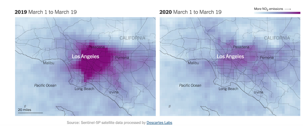 State of Los Angeles amount of emissions in the air last year vs. this year