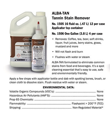 Alba Chem TAN Tannin Stain Remover No. 1505 16oz bottle