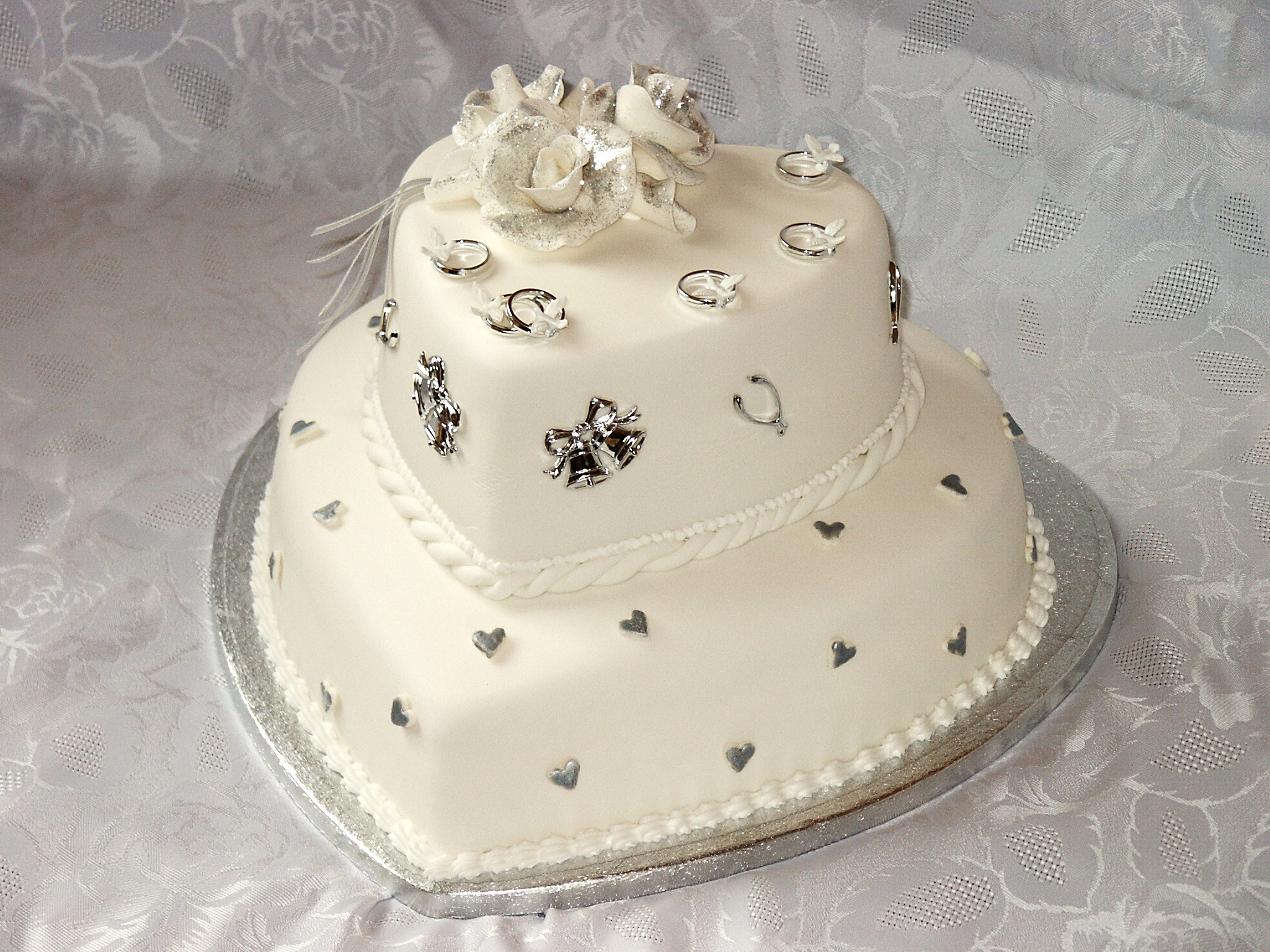 two tier heart cake