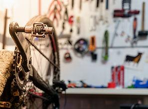 Bike on a workshop in the repair process