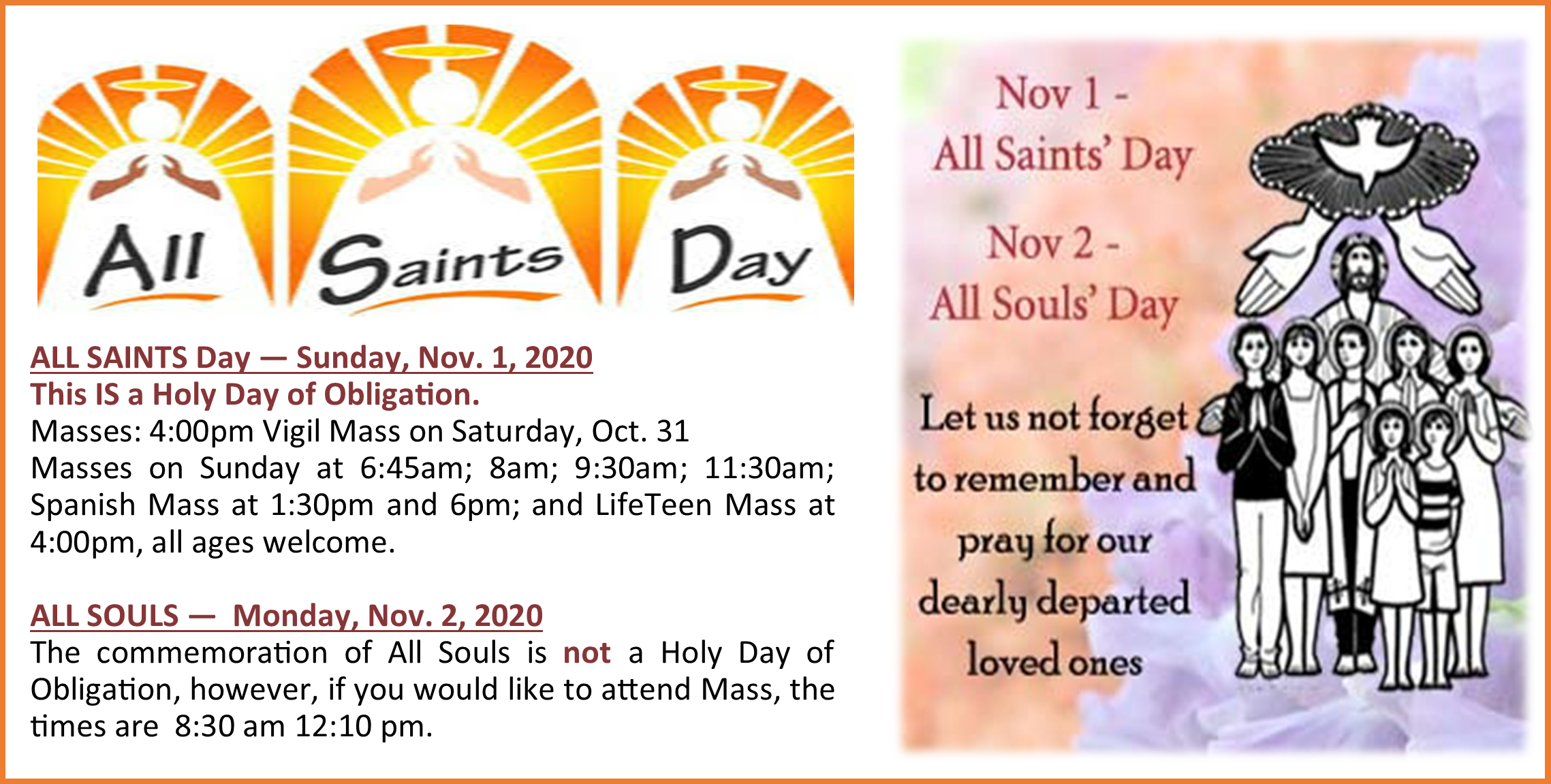 10-29-2020 All Saints schedule