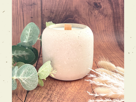 Crackle Concrete Candle In stock