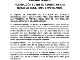 Aclaración sobre el asunto de las rutas al Instituto Sapere Aude