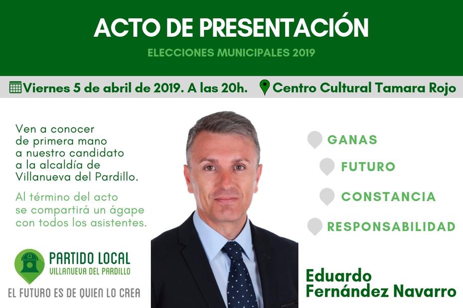 Acto de presentación de Candidato por Partido Local a la Alcaldía de Villanueva del Pardillo (5 de a