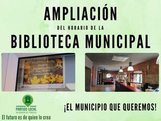 ¡El municipio que queremos! Duodécimo compromiso de gobierno: Ampliación del horario de la Bibliotec