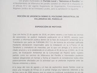 El equipo de gobierno (C's, Vecinos por el Pardillo y PSOE) junto al PP paralizan la moción pres