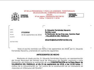 La Delegación de Gobierno autoriza la manifestación de Partido Local en contra de la construcción de