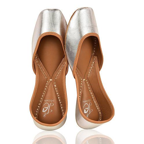 Silver Basics Plain Leather Mojaris
