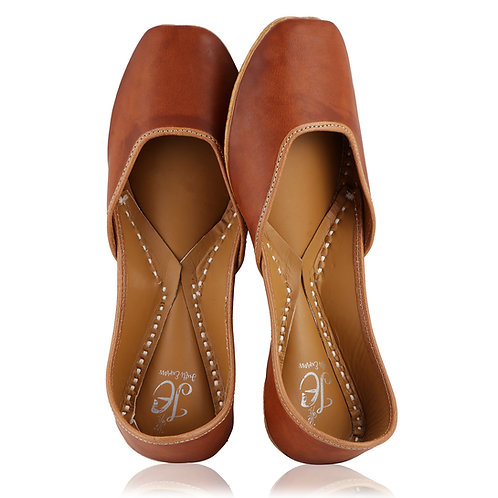 Brown Plain Leather Mojaris