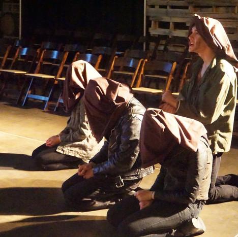 Maddie Blanchard as Caius Lucius, Ty Hendrix as Iachimo, Hannah Fawcett as Imogen, and Luke Disney as Posthumus